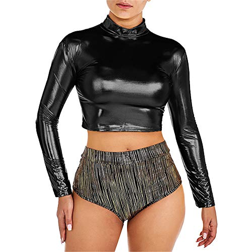 Damen Wetlook Dessous Set Frauen Langarm Crop Top Lackleder Oberteil Kurze Leder...