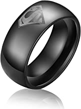 Dilanco 8mm Black Beveled Tungsten Carbide Men's Comfort Fit Wedding Bands Rings with Superman