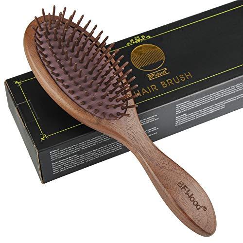 BFWood Holz-Paddel-Haarbürste - Schwarze Walnuss-Haarbürste zur Reduzierung von Frizz und Haarbruch