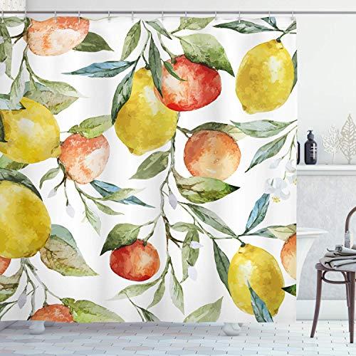 Alvaradod Natur Duschvorhang,Zitrone & Orange Clementine Äste Obst Lecker Winter Saison Vitamin Design,Stoff Stoff Badezimmer Dekor Set mit,Weiß Gelb mit 12 Kunststoffhaken 180x180cm