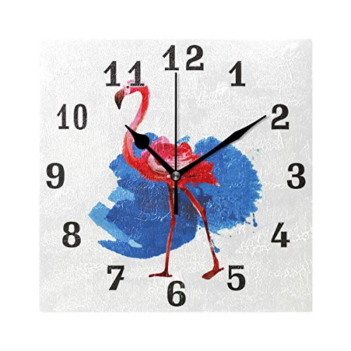 xinfub Tropical Animal Flamingo Square Acrylic Wall Clock, Silent Non Ticking Art Painting Clock for Kids Girls Children Bedroom Living Room School Home Decor