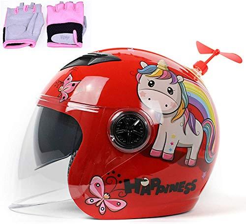 QDY Casco de Moto para niño, Cate Lovely Fashion Cascos de Moto...