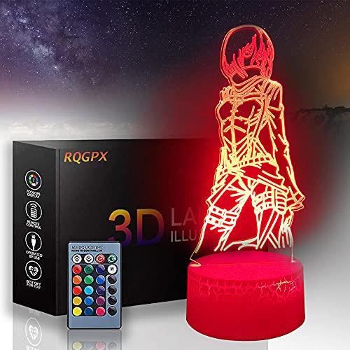 Attack on Titan 3D Luz nocturna para niños Mikasa·Ackerman A Smart Toy Lamp USB Charge Mesa Escritorio Dormitorio Salón Decoración Interior con Control Remoto