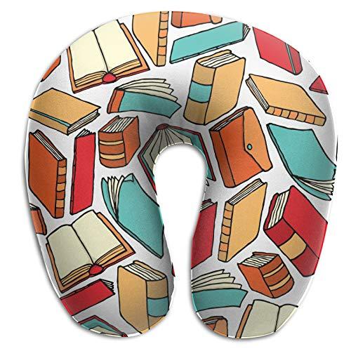 Cuscino a forma di U di viaggio della schiuma di memoria, cuscino leggero di viaggio del modello del libro per il pisolino