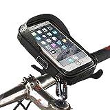 Telefono Bicicletta Bici Borsa Ciclismo a Manubrio Custodia Impermeabile Bicicletta Custodia Smartphone Porta Cellulare Moto Waterproof Phone Case Bag per iPhone X 8/7 Plus Samsung S8(Nero,Size≤6)