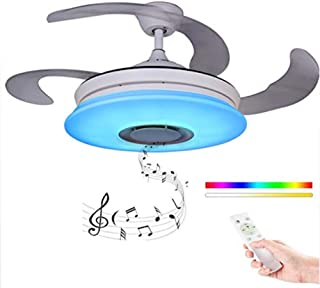 Ventilador De Techo Con Luz Y Remoto Control60w, RGB Cielo Estrellado De Alexa Techo Altavoz Bluetooth Con Lámpara Regulable Música Lámpara Del Techo, Modern Retráctil Cuchillas Plegable De La Lámpara