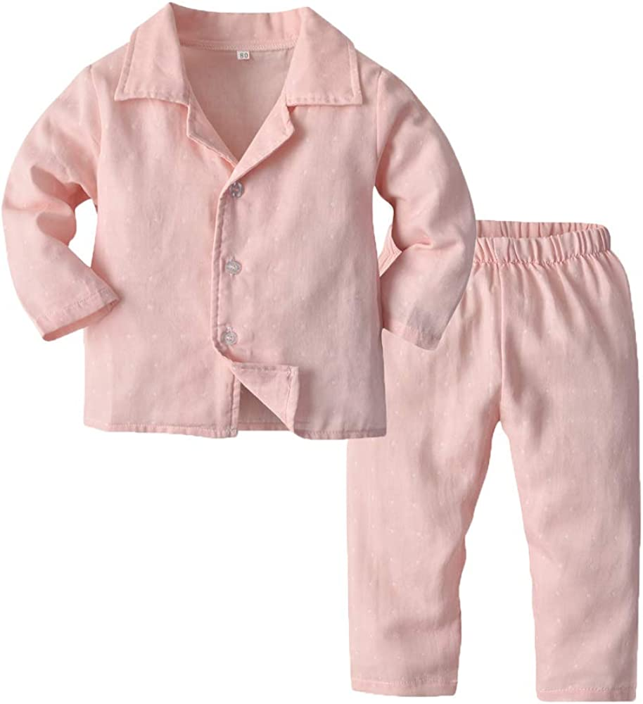 Toddler Baby Boys Girls Pajamas Unisex Baby Kids Cotton Long Sleeve Button-Front PJs Sleepwear Sets(Pink Dot, 120/5T)