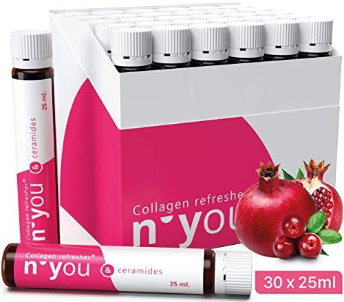 Premium Kollagen Trinkampullen mit Ceramiden - Der Nr.1 Beauty Collagen Drink - Hochwirksame Anti Aging Ampullen zum Trinken + 2,5g Bioaktives Kollagen je Ampulle - Kollagen Biotin Zink 30 x 25ml