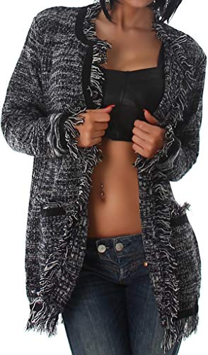 Jela London Damen Offene Strickjacke Cardigan Stoff-Jacke Fransen Taschen kuschelig gemütlich zweifarbig meliert Langarm, 36 38 40 Schwarz