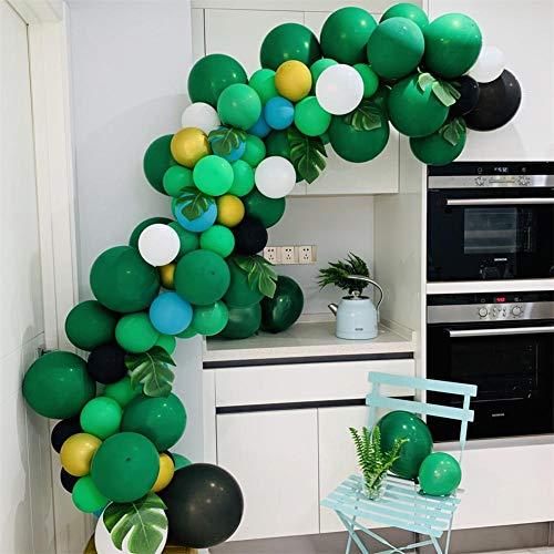 Kit de decoración de arco de guirnalda de 128 piezas con globo en forma de arco y fiesta de tema en el bosque de la selva Globos decorativos y 12 piezas de hojas de palmera tropical para cumpleaños