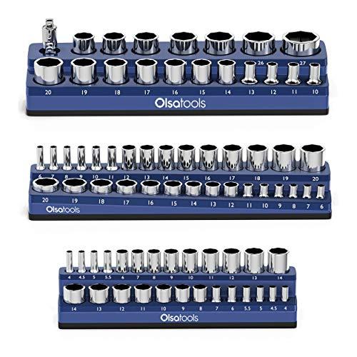 Olsa Tools Magnetic Socket Organizer | 3 Piece Socket Holder Kit | 1/2-inch, 3/8-inch, 1/4-inch Drive | Metric Blue | Holds 75 Sockets | Professional-Gra