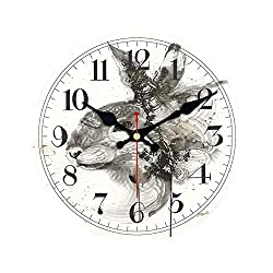Wenzi-day Classic Chinese Painting Design Wall Clocks Silent Living Study Room Office Home Decor Wall Art Creative Large Clocks,Light Black,12 inch (30 cm)