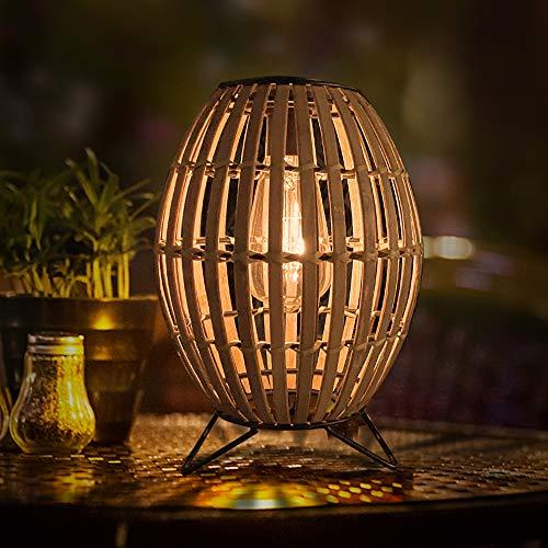 Solar Table Lamp Lantern Outdoor - Pearlstar Rustic Bamboo...