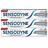 Sensodyne Blanqueante Pasta de Dientes Blanqueante con Flúor, Alivio para Dientes Sensibles, Protección Duradera frente a la Sensibilidad Dental, Pack de 3 x 75 ml