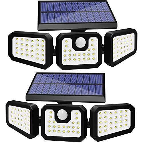 COSITA Solar Lights Outdoor,74 LED Solar Motion Sensor Lights Outdoor, 3 Adjustable Heads Solar Security Lights, IP65 Waterproof Flood Lights for Garage,Front Door,Yard,Patio, Pathway(2 Pack)