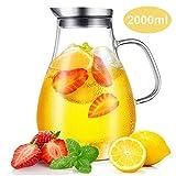 CNNIK Glas Krug, 2L Bleifrei Borosilikatglas Wasserkrug mit Deckel, Glaskaraffe für Heißes/Kaltes Wasser, Milch, Rotwein, Fruchtsaft, Kaffee und EIS Getränke - 6