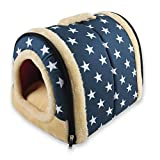 ANPPEX 2 en 1 Niches & Maison d'Animal Familier, Machine Lavable Antidérapant Pliable Doux Chaud Chien Chat Chiot Lapin Pet Nid Grotte Maison Lit avec Coussin Amovible