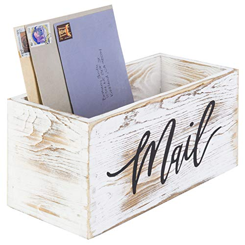 MyGift Whitewashed Wood Tabletop Decorative Mail Holder Box with Letter Script Design