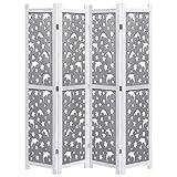 FAMIROSA Biombo de 4 Paneles de Madera Maciza Gris 140x165 cm