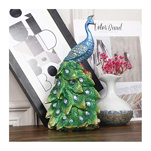 TYX Peacock Sculptures, Light Luxury Classical Peacock Resin Crafts, Creative Gifts, Home Living Room Wine Cabinet Office Decorations,C