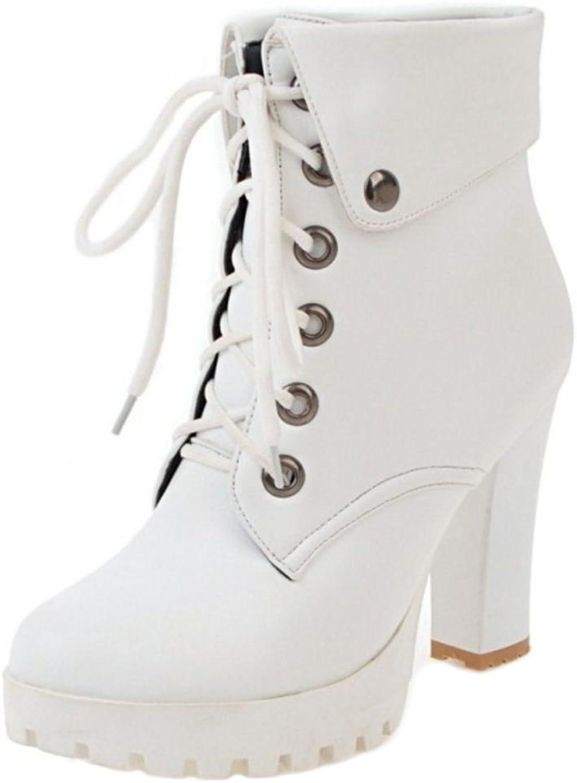 KemeKiss Women Fashion Block High Heels Platform Bootie Boots
