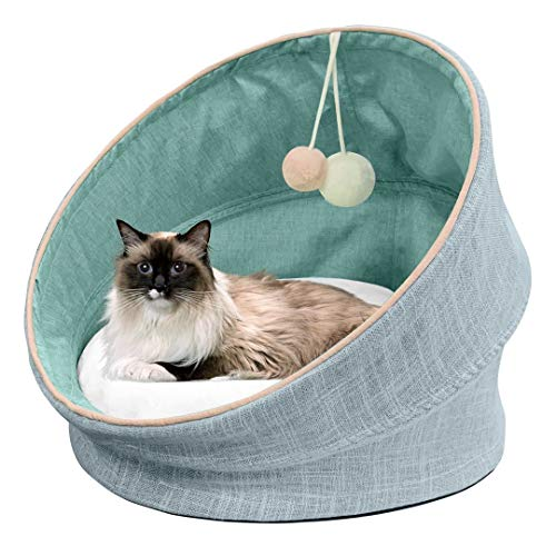 SAVFOX Luxury Collapsible Covered Pet Bed, Soft & Cozy Removable Cushion, Improve Sleep   Washable & Comfortable, Anti-Slip Bottom for Cat & Puppy - (18x18, Green/Pink/Blue/Kahki)