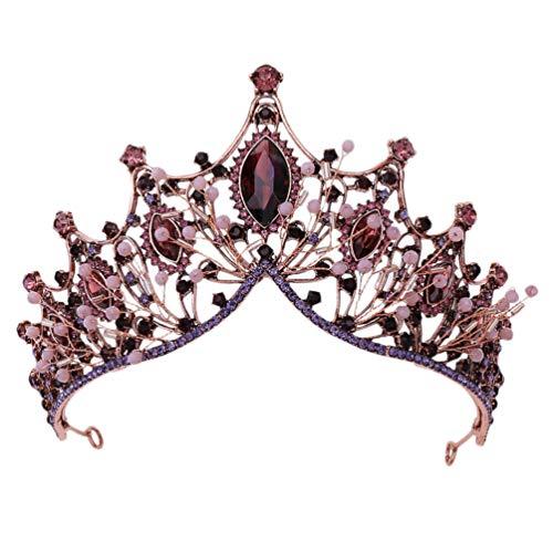 Minkissy Barock Braut Kronen Und Diademe Vintage Kristall Prinzessin Königin Krone Barock Strass Stirnband für Braut Frauen Hochzeit Abschlussball Festzug Kupfer Kupfer Lila