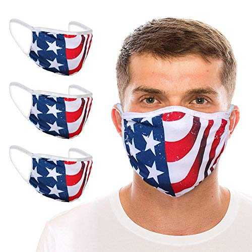 3PCS Made in The USA | 100% Cotton Washable Reusable Great Gift | American Flag Mouth Face_ Protect Bandana Dust_Mask_ Unisex Adult for Independence Day 4th of July (3 Pieces)