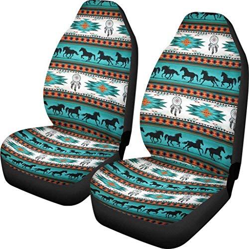 Caballo Atrapasueños Protector de asiento de coche delantero Native American Tribal Aztec Fundas de alfombrilla de coche Se adapta a la mayoría de los coches Vans Funda de cojín de asiento 2 p