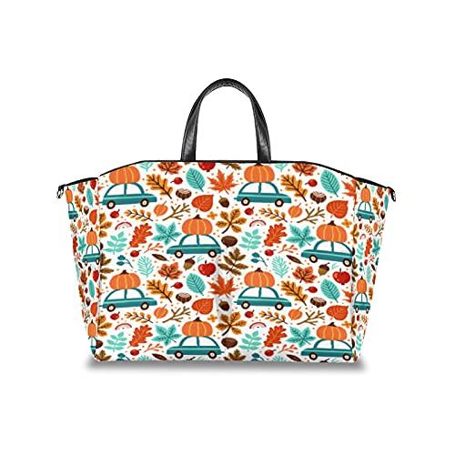 Bolsa de pañales para coche, diseño de hojas de calabaza, multifuncional, impermeable, para mami, pañales, bolsa de viaje con correa de velcro ajustable