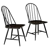 Target Marketing Systems Windsor Set of 2 Mixed Media Spindle Back Dining Chairs with Saddle Seat, Set of 2, Black/Espresso