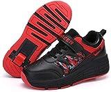 Chaussures Patin À Roulettes Patins À Roues Alignées Unisexe Enfants Planche À Roulettes Technique Rétractable Sport Course En Plein Air Gymnastique Sneaker Roues Chaussures Chaussure De Skate,Red-37