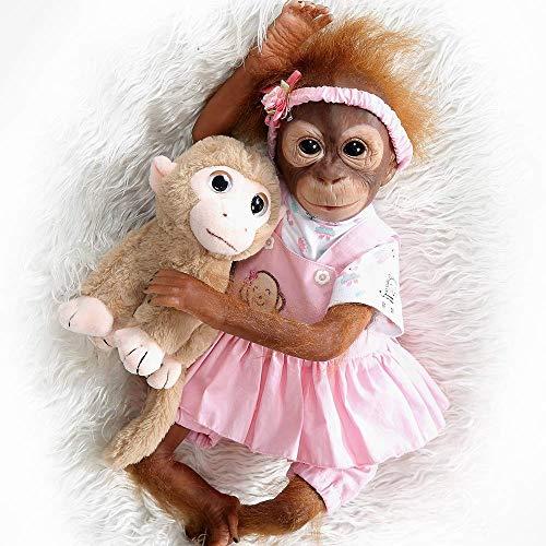ZIYIUI Scimmia Reborn 21inch 52 cm Pittura Dettagliata Fatto a Mano Reborn Baby Scimmia Bambola Bambole da Collezione Art Toy per Il Regalo del Bambino