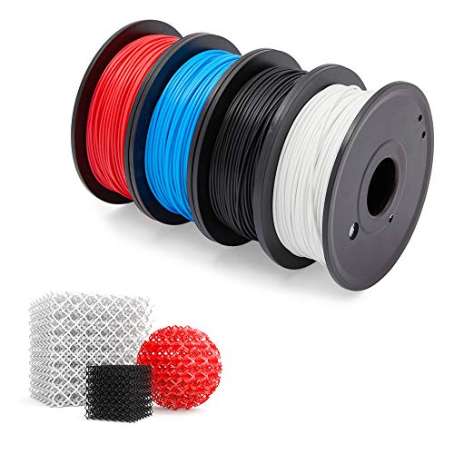 Stockroom Plus 1.75mm PLA Flexible 3D Printer Filament, Dimensional Accuracy +/- 0.02mm, 0.55lb Spool (4 Spools)