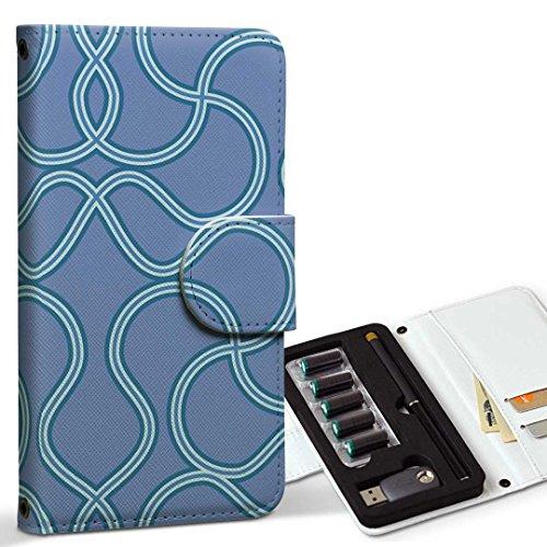 スマコレ ploom TECH プルームテック 専用 レザーケース 手帳型 タバコ ケース カバー 合皮 ケース カバー 収納 プルームケース デザイン 革 チェック・ボーダー 模様 青 003804