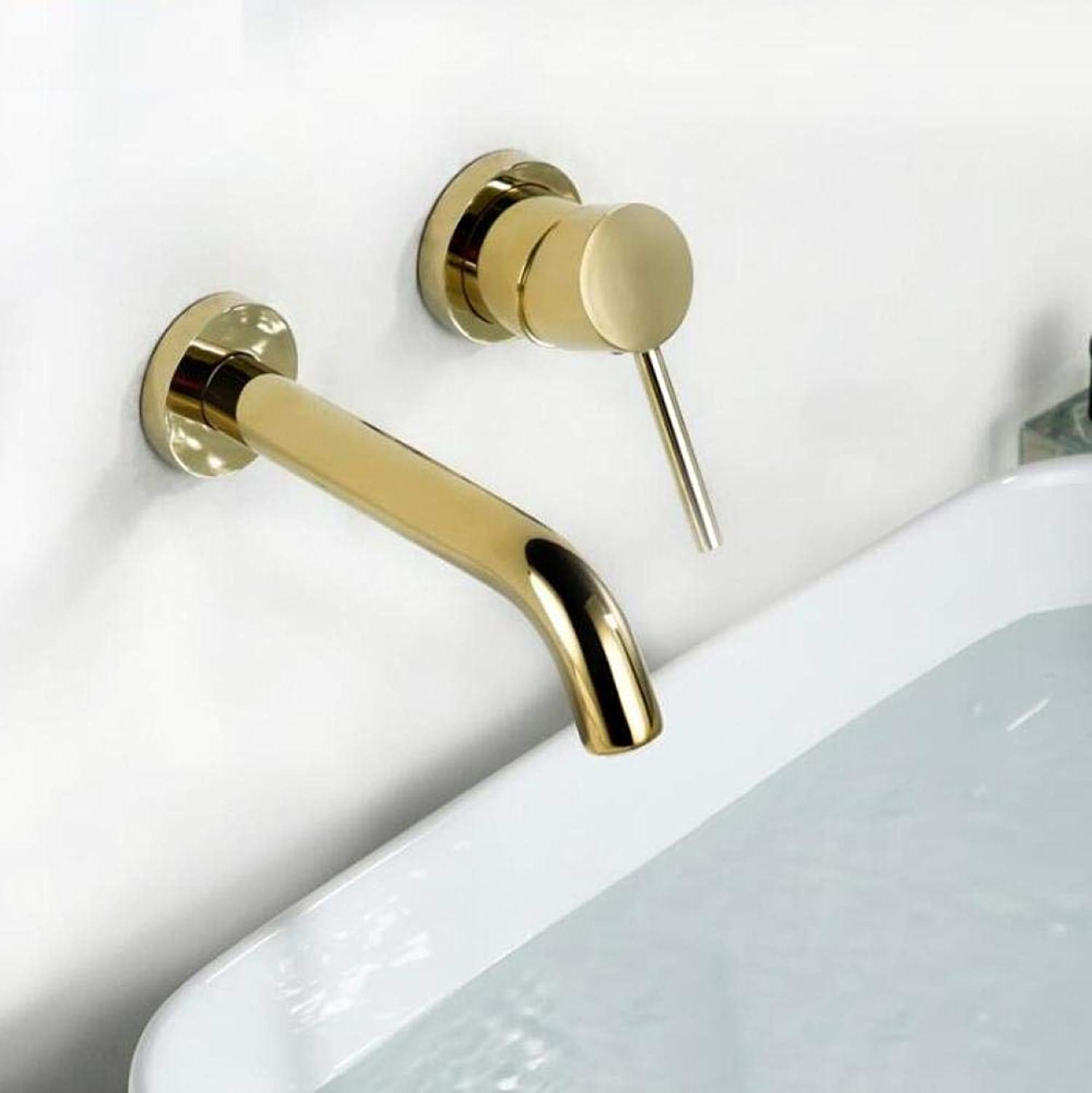 Wasserhahn Küchenarmatur Gold Farbe Simple Wall Mounted Bathroom Faucet 100% Solid Brass Single Handle Basin Water Mixer Faucet Golden Tap Ware