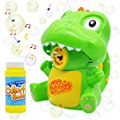 Bubble Machine Dinosaur Bubble Maker Automatic Bubble Blower Bubble Gun 1000+ Bubbles Per Minute for Kids, Summer Toy Party Favor, Birthday, Outdoor & Indoor, Easter with 120ml(4.05oz) Bubble Solution