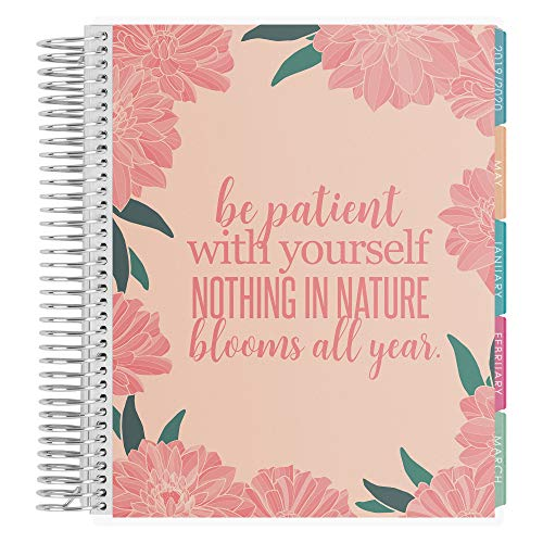 Erin Condren 12 - Month 2020 Coiled Life Planner 7x9 (January - December 2020) - Blooms All Year (Cherry Blossom & Salmon), Hourly(Colorful Layout). Daily Agenda with Monthly Calendar Tabs
