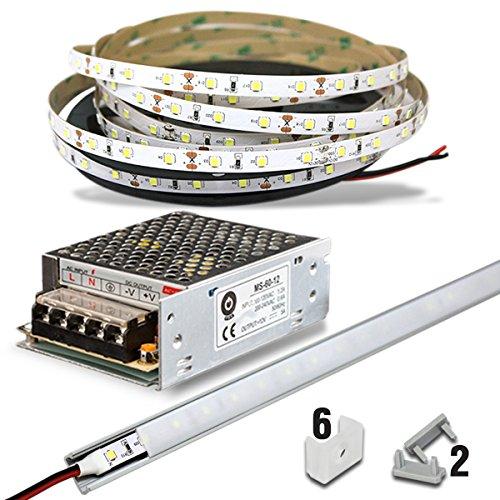 Kit Professionale (5 metri) con Striscia LED Sirio (300 LED SMD 2835) + Trasformatore 72W + Profilo Alluminio (colore Argento) + Cover Opal + 2 tappi + 6 ganci - Non Waterproof - Bianco Freddo
