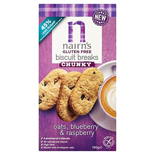 Nairn's Gluten Free Oats, Blueberry & Raspberry Chunky Biscuit Breaks - 160g (0.35 lbs)