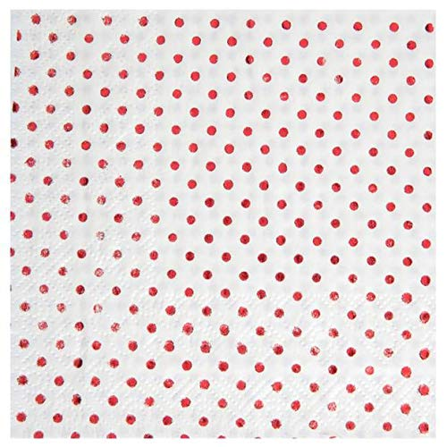Santex Noel - 20 Serviettes Papier à Pois métallisés Rouge