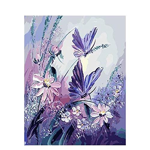 JRGGPO Mariposa en Flor DIY 5D Kits de Pintura de Diamantes Niños Adulto Regalo Mosaico de Diamantes Lienzo Decorativo para Pared(40x50cm Diamante Cuadrado)