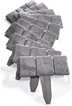SUBBYE Pack of 10 Dark Grey Stone-Effect Instant Fence in Garden Border Edging, Perfect Finished for Edges and Garden Borders, Plastic, Length 260cm, Thickness 1mm (Color : Gray, Size : 26cm×23cm)