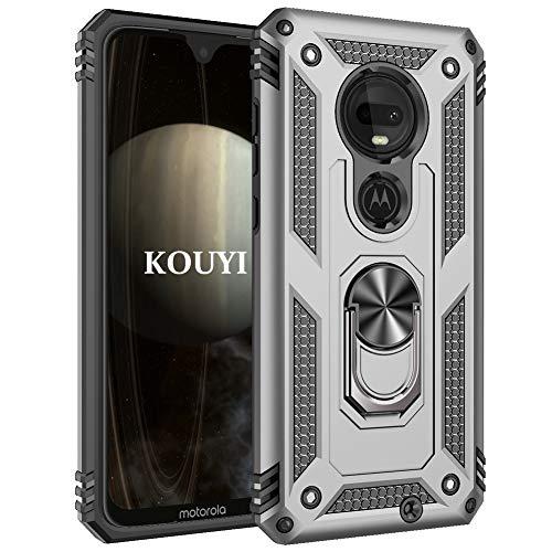 KOUYI Cover Motorola Moto G7 Plus,Custodia 360° Girevole Regolabile Ring Armor Bumper TPU Case Magnetica Supporto Silicone Custodie per Motorola Moto G7 Plus (Argento)