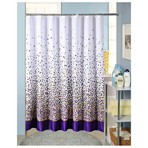 SonMo Duschvorhang Mehrfarbig Quadrat Polyester Bunt Wasserdicht Anti-Bakteriell Anti-Schimmelbadezimmer Vorhänge mit Duschvorhangringen 120×200CM