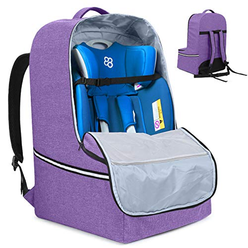 Teamoy Car Seat Travel Bag, Car Seat Gate Check Bag with Top Handle and Reflective Tapes, Infant Carseat Carrier Covers for Airplane, Purple