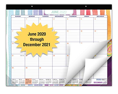 "Desk Calendar 2020-2021: Large Monthly Pages - 22""x17"" - Runs from June 2020 Through December 2021 - Desk/Wall Calendar can be Used Throughout 2021."