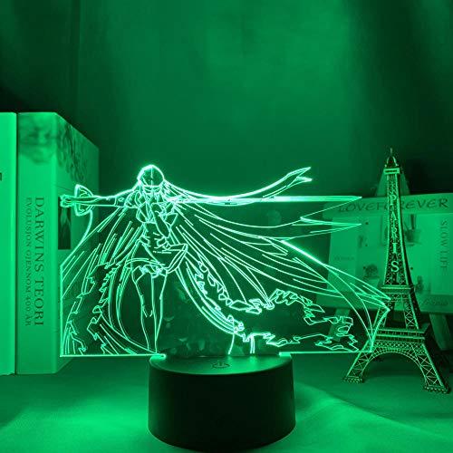Luminária noturna de LED de acrílico, anime, Esdeath para quarto, decoração de mangá, presente de aniversário, Akame Ga Kill Anime 3D para decoração de casa HOICHAN