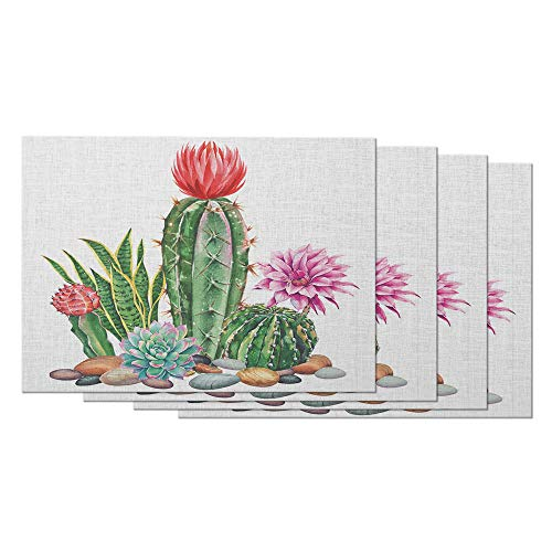 Moslion Cactus Place Mats 12x18 Inch Set of 4 Watercolor Green Garden Cacti Stones Pink Flower Table Placemats Cotton Linen for Dining Room Kitchen Home Decor