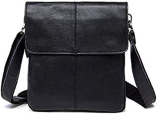 FYXKGLan Men's Genuine Leather Vintage Cowhide Flip Single Shoulder Bag (Color : Black)